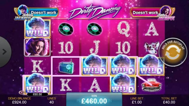 Dirty Dancing :: Multiple winning paylines triggers a 460.00 big win!