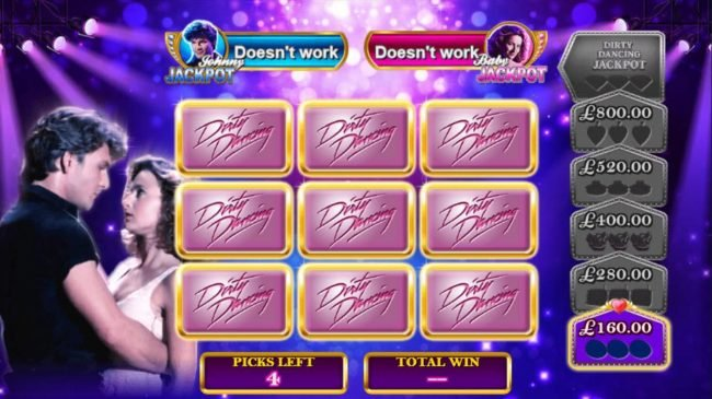 Club 777 featuring the Video Slots Dirty Dancing with a maximum payout of Jackpot