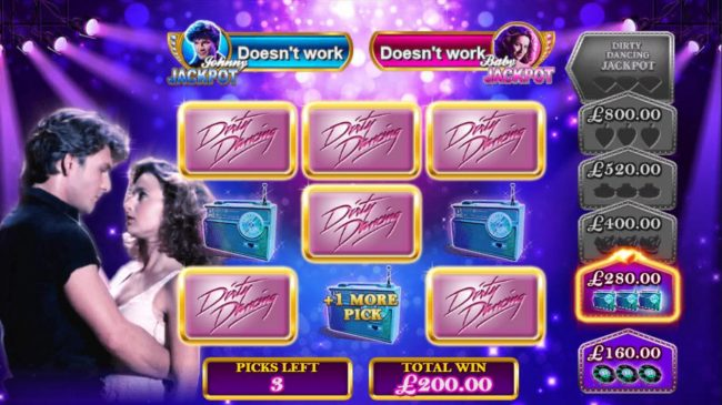 Dirty Dancing :: Successfully picking items will earn you extra picks, cash prizes and move up to the next bonus stage.