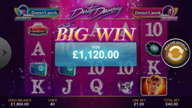 Dirty Dancing :: Bonus game pays out a total of 1,120.00 for an awesome win.