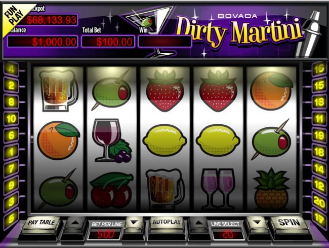 Play slots at Real Vegas Online: Real Vegas Online featuring the Video Slots Dirty Martini with a maximum payout of $200,000