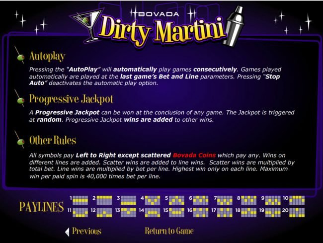 iNET Bet featuring the Video Slots Dirty Martini with a maximum payout of $200,000