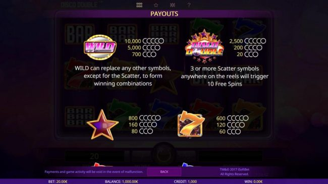 X-Bet featuring the Video Slots Disco Double with a maximum payout of $200,000