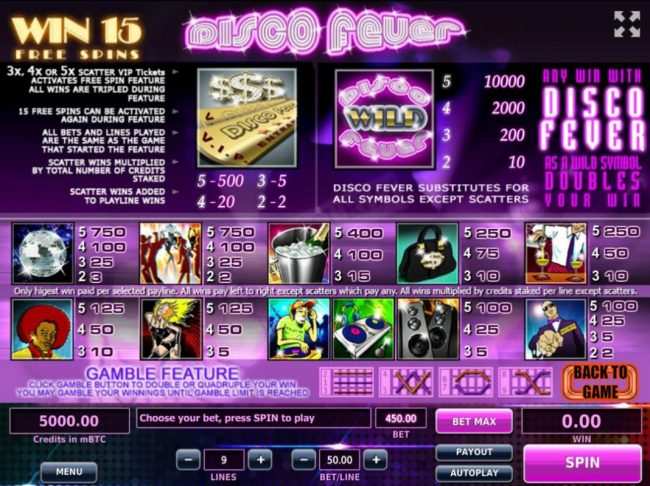 Royale24 featuring the Video Slots Disco Fever with a maximum payout of $500,000