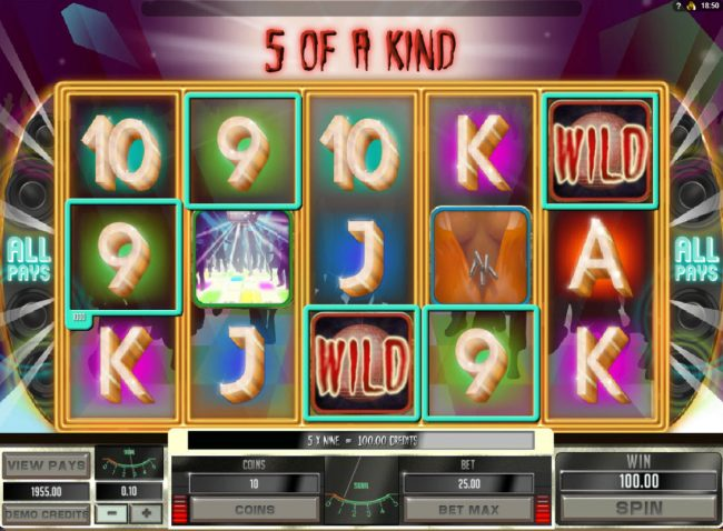 King Neptunes featuring the Video Slots Disco Night Fright with a maximum payout of $15,000