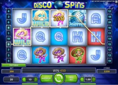 Spinzilla featuring the Video Slots Disco Spins with a maximum payout of $2000