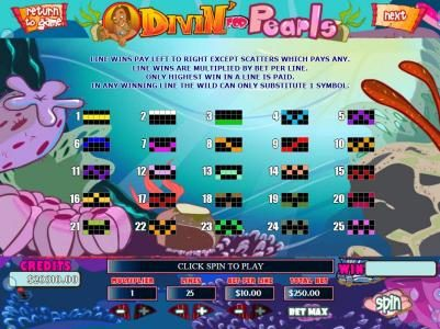 Mission 2 Game featuring the video-Slots Divin' For Pearls with a maximum payout of Jackpot