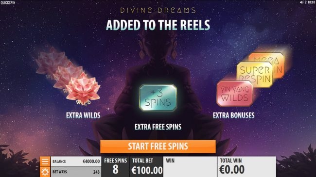Euro Slots featuring the Video Slots Divine Dreams with a maximum payout of $364,500