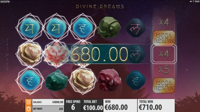 Casumo featuring the Video Slots Divine Dreams with a maximum payout of $364,500