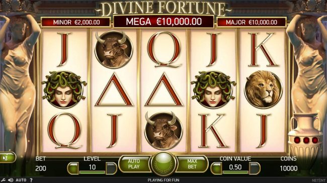 Jackpot Mobile featuring the Video Slots Divine Fortune with a maximum payout of $60,000
