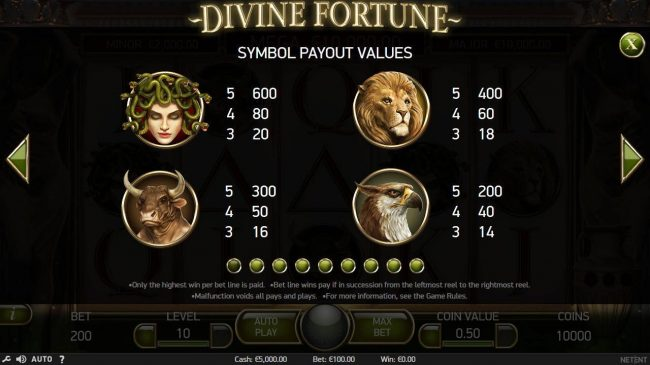 High value slot game symbols paytable featuring beasts from Greek mythology.