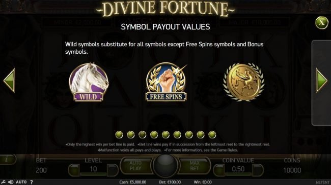 Free Spins featuring the Video Slots Divine Fortune with a maximum payout of $60,000