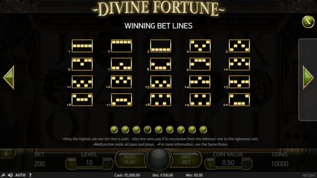 Africa Casino featuring the Video Slots Divine Fortune with a maximum payout of $60,000