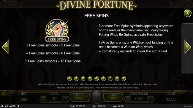 Free Spins - 3 or more Free Spins scatter symbols appearing anywhere on the reels in the main game, including during Falling Wilds Re-Spins, activate Free Spins.