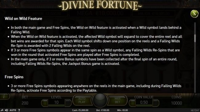 Genesis Casino featuring the Video Slots Divine Fortune with a maximum payout of $60,000