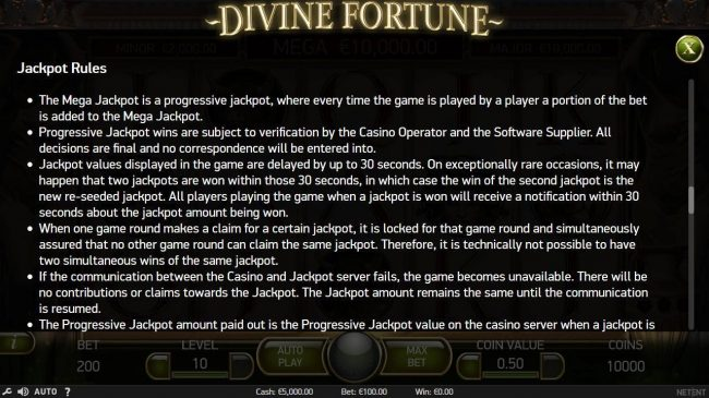 Bet At Casino featuring the Video Slots Divine Fortune with a maximum payout of $60,000