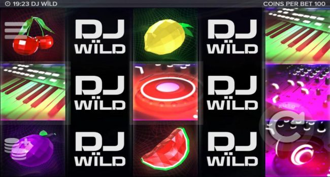 DJ Wild :: Main game board based on a music theme, featuring five reels and 10 paylines with a $1,700,000 max payout