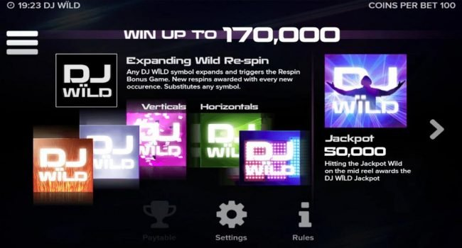 DJ Wild :: Win up to 170,000! Expanding Wild Re-Spin - Any DJ Wild symbol expands and triggers the respin Bonus Game. New respins awarded with every new occurence. Substitutes any symbol. Jackpot 50,000, Hitting the jackpot Wild on the mid reel awards the DJ WILD ja