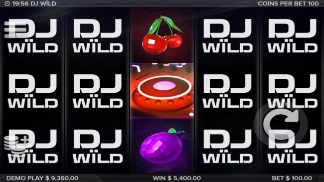 DJ Wild :: A 5,400 mega win triggered by multiple free spins and paylines.