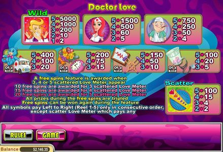 Play slots at Miami Club: Miami Club featuring the Video Slots Doctor Love with a maximum payout of $50,000