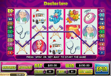 Miami Club featuring the Video Slots Doctor Love with a maximum payout of $50,000