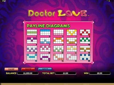 game rules, gamble feature and 50 payline diagrams