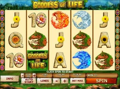 Mr Play featuring the Video Slots Goddess of Life with a maximum payout of $50,000