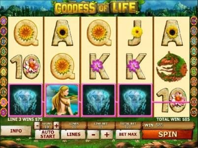 African Palace featuring the Video Slots Goddess of Life with a maximum payout of $50,000