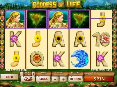 Goddess of Life :: multiple winning paylines triggers a $110 jackpot