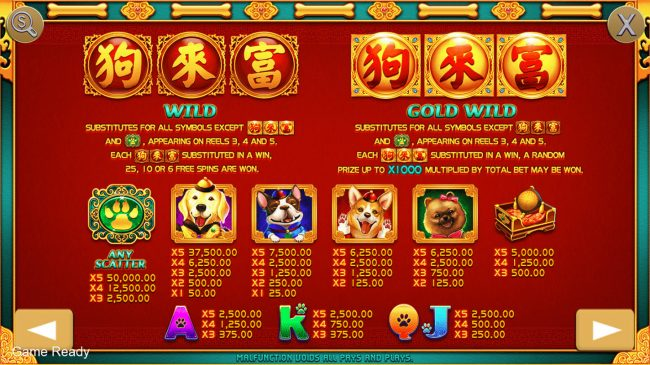 Play slots at Play 24 Bet: Play 24 Bet featuring the Video Slots Dog Bless You with a maximum payout of $50,000