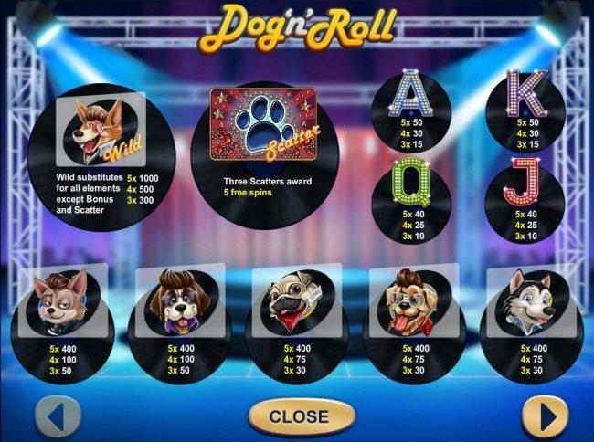 My Touch featuring the Video Slots Dog 'n' Roll with a maximum payout of $500,000