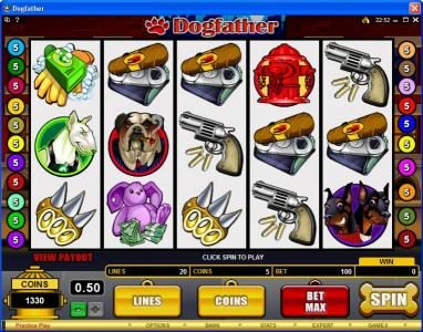Play slots at Spin Palace: Spin Palace featuring the Video Slots Dogfather with a maximum payout of $37,500