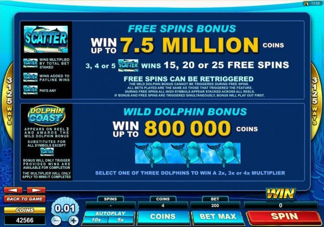 Piggs featuring the Video Slots Dolphin Coast with a maximum payout of $160,000
