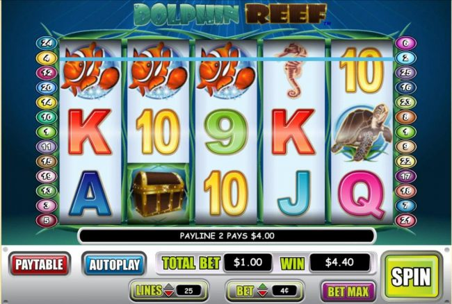 Liberty Slots featuring the Video Slots Dolphin Reef with a maximum payout of $50,000