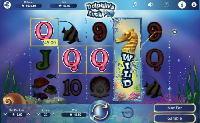 LaFiesta featuring the Video Slots Dolphin's Luck with a maximum payout of $60,000