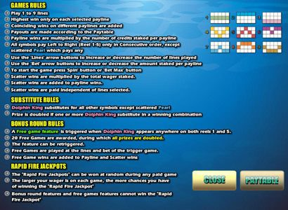 Party Casino featuring the video-Slots Dolphin King with a maximum payout of 10,000x