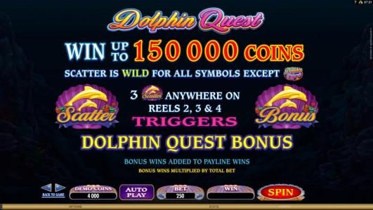 Cinema featuring the Video Slots Dolphin Quest with a maximum payout of $31,250