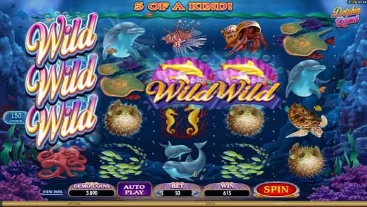 Dolphin Quest :: five of a kind leads to a big win