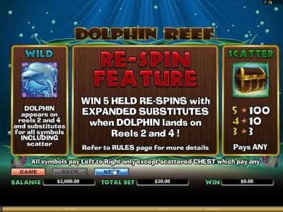 Dolphin Reef :: how to play wild, re-spin feature and scatter