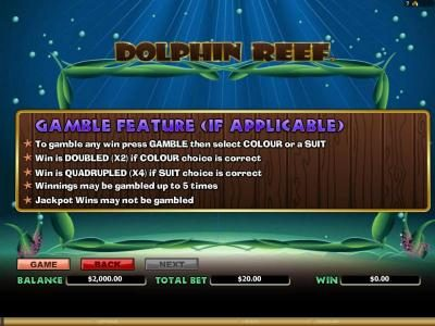 Dolphin Reef :: gamble feature rules