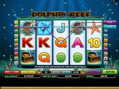 Dolphin Reef :: multiple winning paylines and a pair of scatter symbols triggers a $66 jackpot