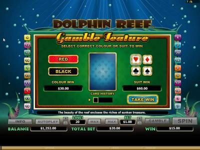 Dolphin Reef :: gamble feature game board - choose the correct color or suit for a chance to increase your winnings