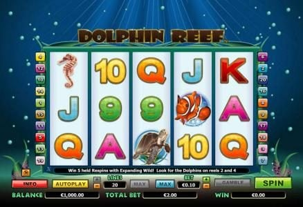 Play slots at King Billy: King Billy featuring the Video Slots Dolphin Reef with a maximum payout of $10,000