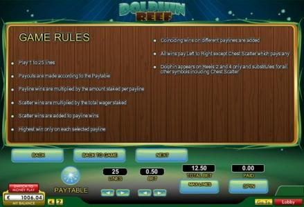 Dolphin Reef :: General game rules