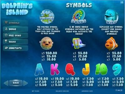 Joe Fortune featuring the Video Slots Dolphin's Island with a maximum payout of $250