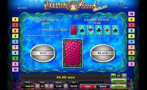 gamble feature game board - choose red or black for a chance to increase your winnings