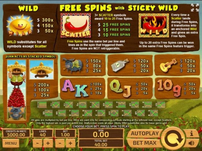 Royale24 featuring the Video Slots Don Juan's Peppers with a maximum payout of $300