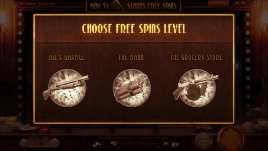 choose free spins level