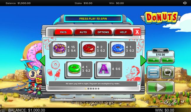 888 Casino featuring the Video Slots Donuts with a maximum payout of $100,000