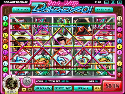 Mayan Fortune featuring the Video Slots Doo-Wop Daddy-O with a maximum payout of $25,000